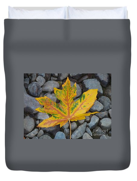 Duvet Cover featuring the photograph Rock Creek Leaf by Chalet Roome-Rigdon