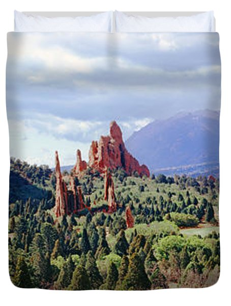 Rock Formations On A Landscape, Garden Duvet Cover by Panoramic Images