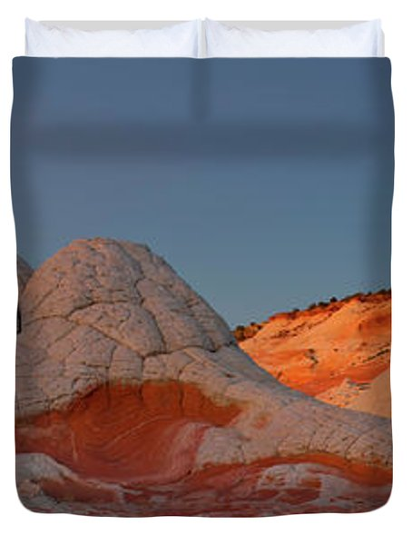 Rock Formations On A Landscape, White Duvet Cover
