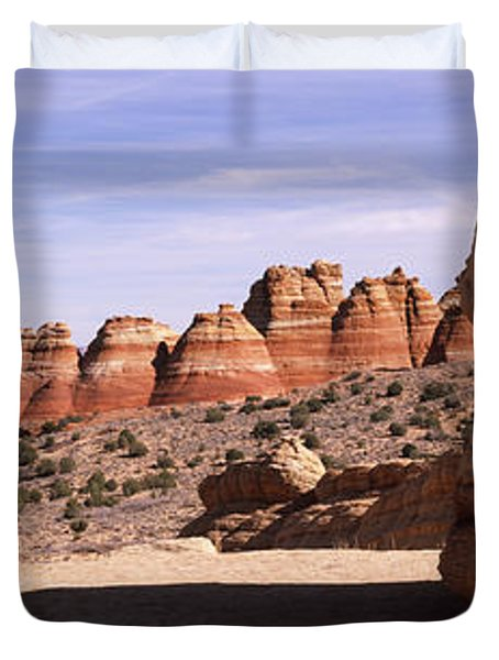 Rock Formations On An Arid Landscape Duvet Cover