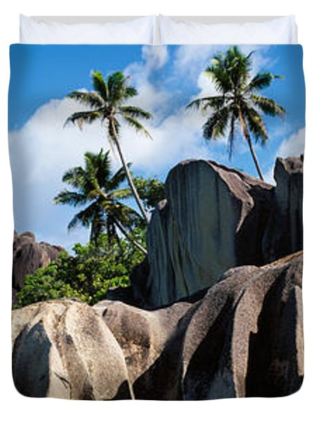 Rock Formations On The Beach, Anse Duvet Cover