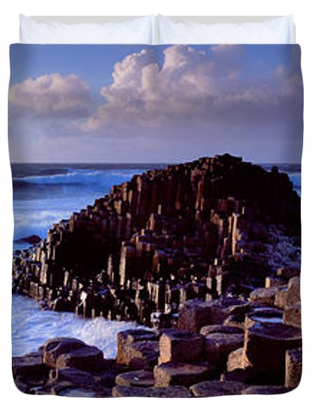 Rock Formations On The Coast, Giants Duvet Cover by Panoramic Images