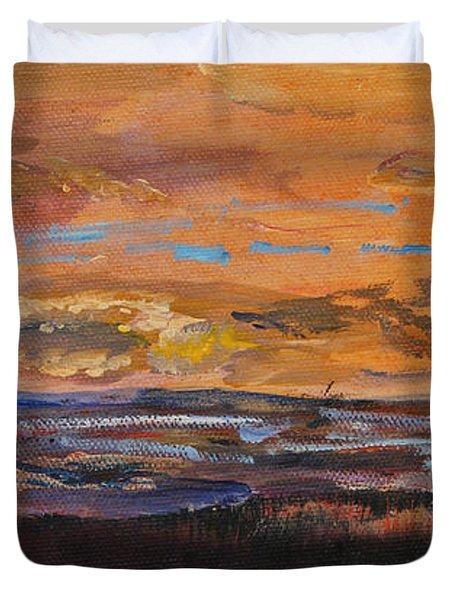 Rock Harbor Sunset Duvet Cover