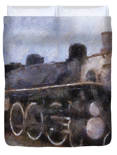 Rock Island Locomotive Engine Photo Art Duvet Cover by Thomas Woolworth