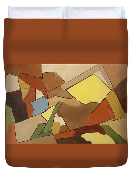 Duvet Cover featuring the painting Rock Of Mages by Patricia Cleasby