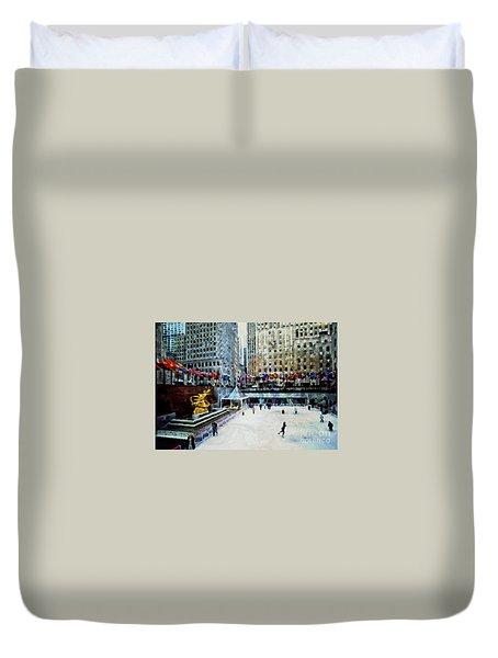 Rockefeller Center Ice Skaters Nyc Duvet Cover