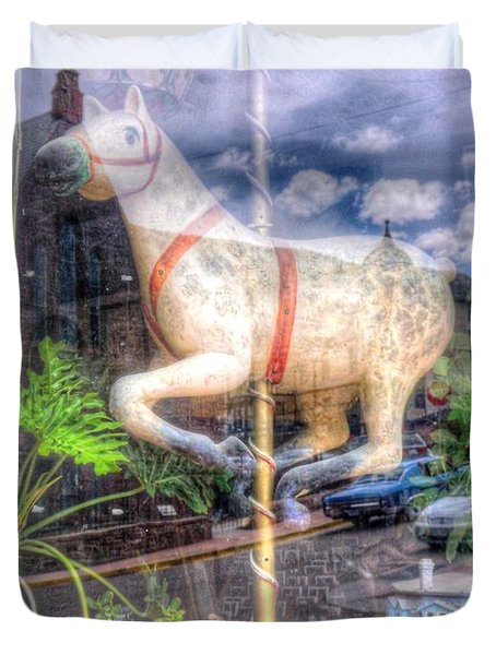 Duvet Cover featuring the photograph Rockey's Horse by Lanita Williams