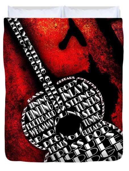 Rockin Guitar In Red Typography Duvet Cover by Andee Design