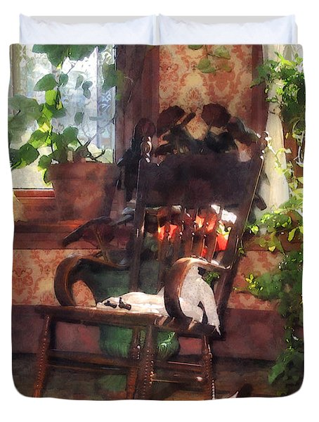 Rocking Chair In Victorian Parlor Duvet Cover by Susan Savad
