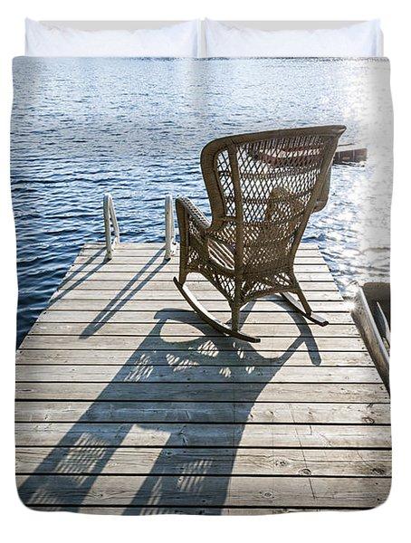 Rocking Chair On Dock Duvet Cover by Elena Elisseeva