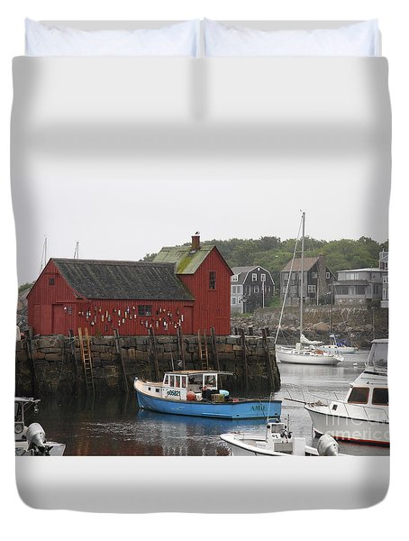Rockport Inner Harbor With Lobster Fleet And Motif No.1 Duvet Cover by Christiane Schulze Art And Photography