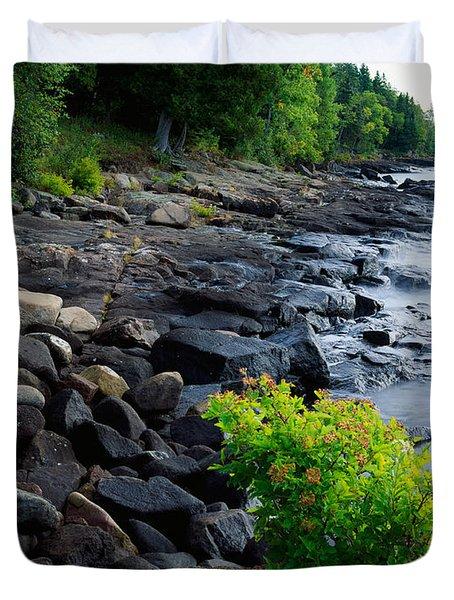 Rocks And Trees Along Lake Superior Duvet Cover