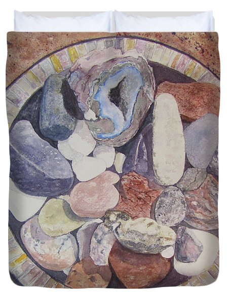 Duvet Cover featuring the painting Rocks by Carol Flagg