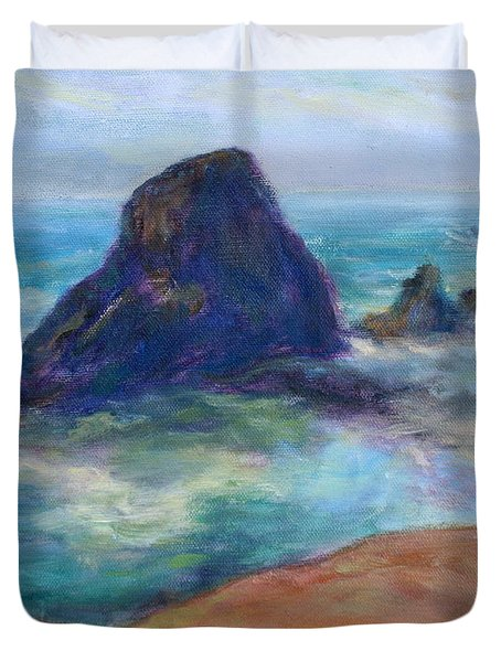 Rocks Heading North - Scenic Landscape Seascape Painting Duvet Cover