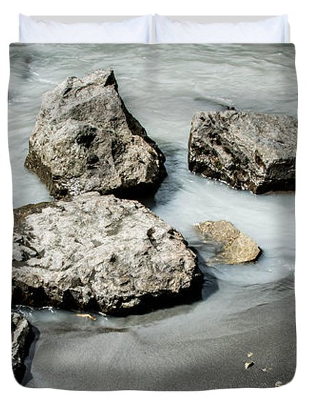 Rocks In The River Duvet Cover by Andrew Matwijec