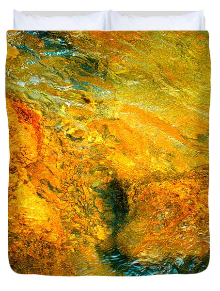 Rocks Under The Stream By Christopher Shellhammer Duvet Cover