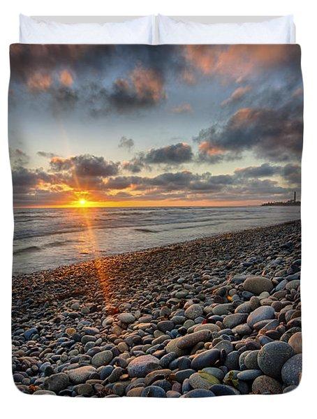 Rocky Coast Sunset Duvet Cover