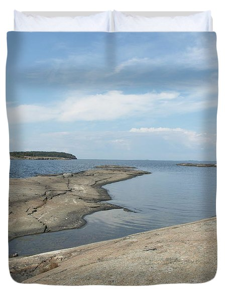 Rocky Coastline In Hamina Duvet Cover