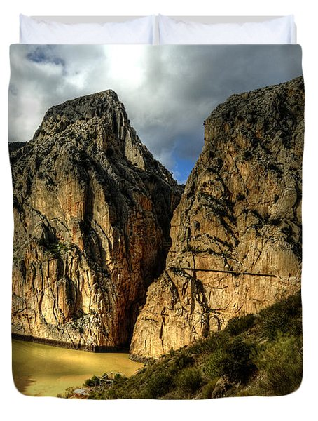 Duvet Cover featuring the photograph Rocky El Chorro In Andalusia by Julis Simo