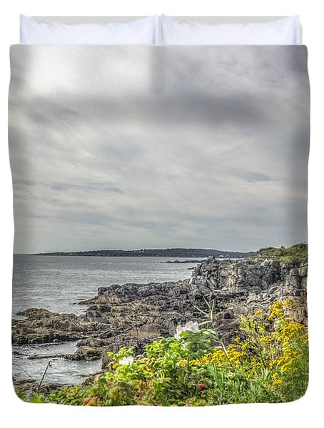 Duvet Cover featuring the photograph Rocky Maine Shoreline by Jane Luxton