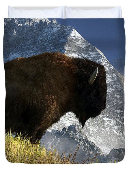 Duvet Cover featuring the digital art Rocky Mountain Buffalo by Daniel Eskridge