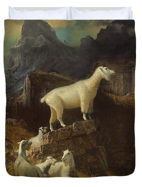 Rocky Mountain Goats Duvet Cover by Albert Bierstadt