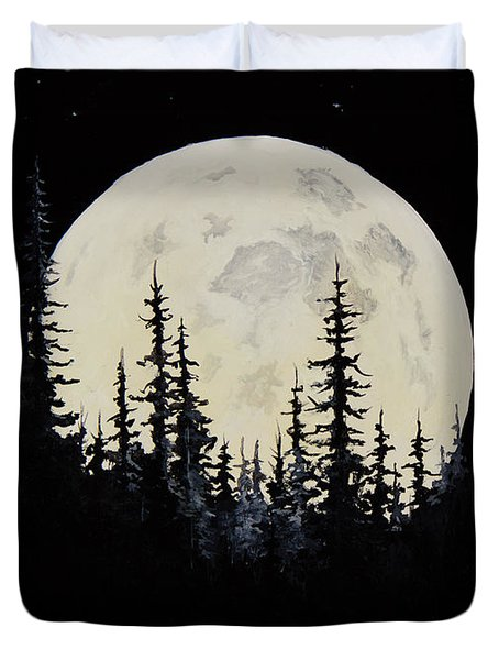Rocky Mountain Moon Duvet Cover by C Steele
