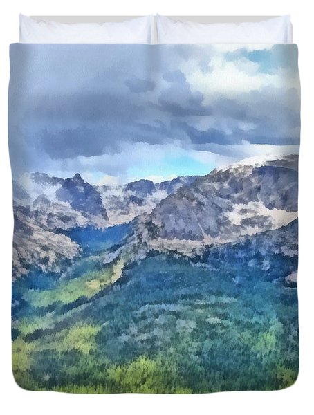 Rocky Mountain National Park Painting Duvet Cover by Dan Sproul