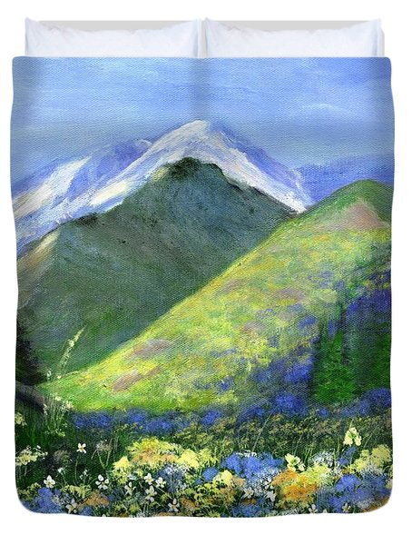 Rocky Mountain Spring Duvet Cover by Jamie Frier