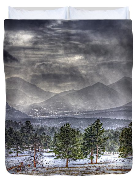 Rocky Mountain Snow Storm Estes Park Colorado Duvet Cover