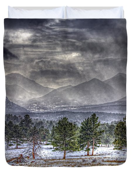 Rocky Mountain Snow Storm Estes Park Colorado Duvet Cover