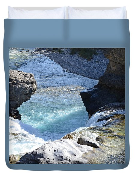Elbow Falls Water  1.1 Duvet Cover by Cheryl Miller