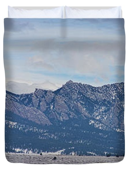 Rocky Mountains Flatirons And Longs Peak Panorama Boulder Duvet Cover by James BO  Insogna