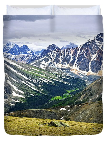 Rocky Mountains In Jasper National Park Duvet Cover by Elena Elisseeva