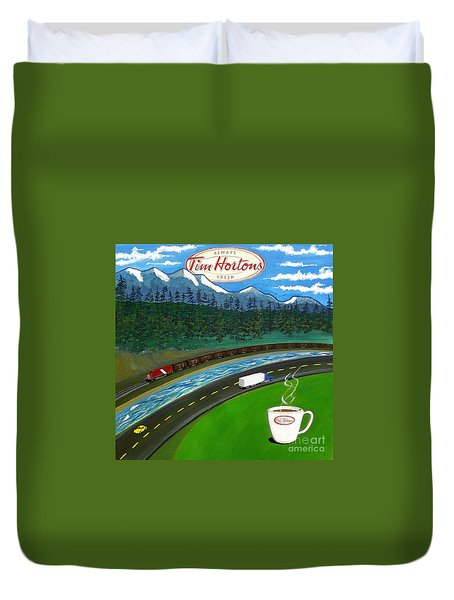 Rocky Mountains Duvet Cover by John Lyes