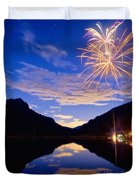Rocky Mountains Private Fireworks Show Duvet Cover by James BO  Insogna