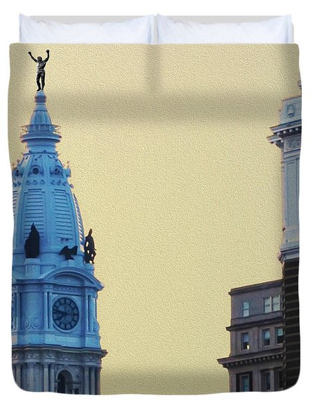 Rocky On Top Of City Hall Duvet Cover by Bill Cannon