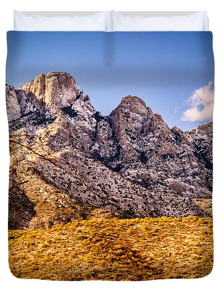 Duvet Cover featuring the photograph Rocky Peaks by Mark Myhaver