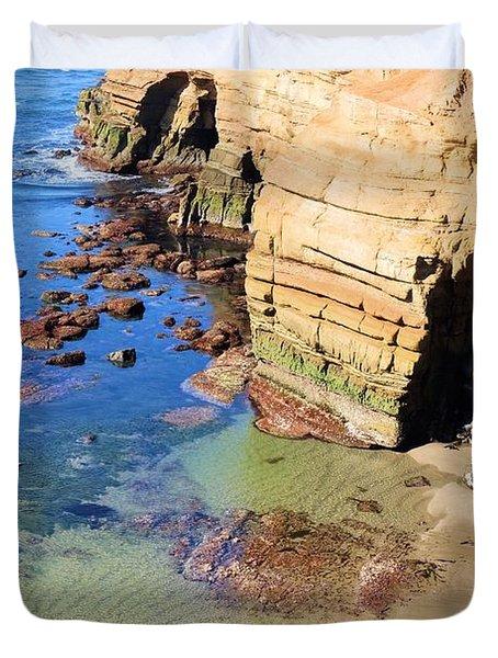 Rocky Point Sunset Cliffs Duvet Cover