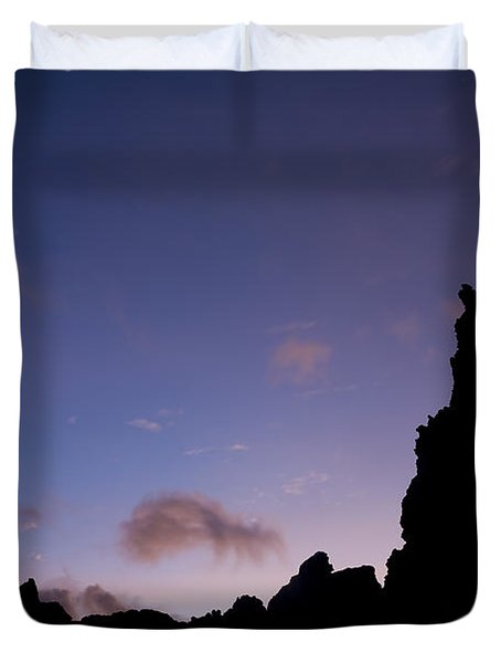 Rocky Purple Sunset Duvet Cover by Charmian Vistaunet