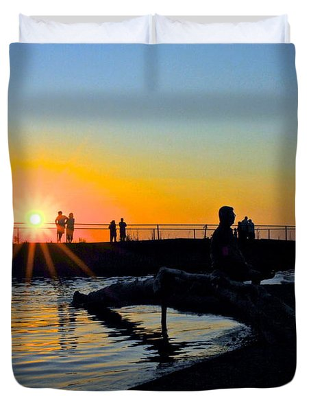 Rocky River Ohio Duvet Cover by Frozen in Time Fine Art Photography
