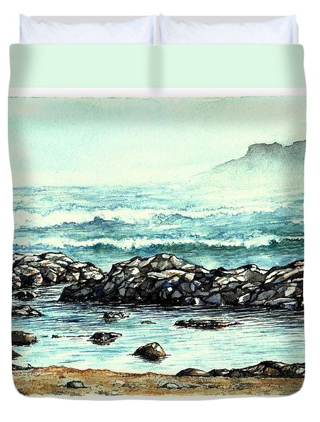 Duvet Cover featuring the painting Rocky Seashore by Heidi Kriel