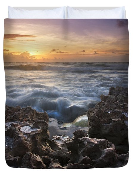 Rocky Shore Duvet Cover by Debra and Dave Vanderlaan