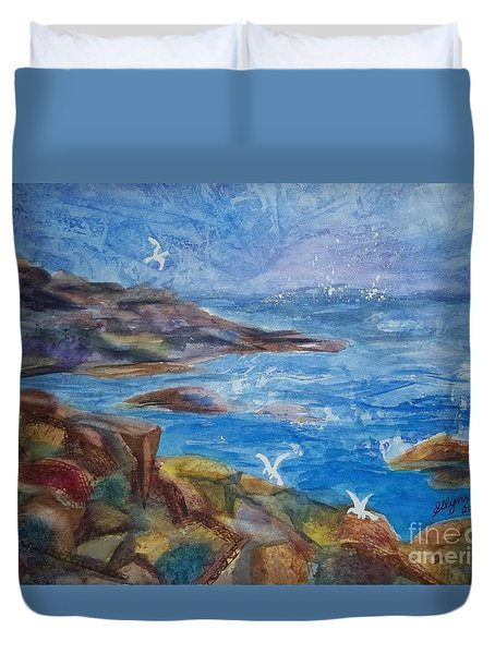 Duvet Cover featuring the painting Rocky Shores Of Maine by Ellen Levinson