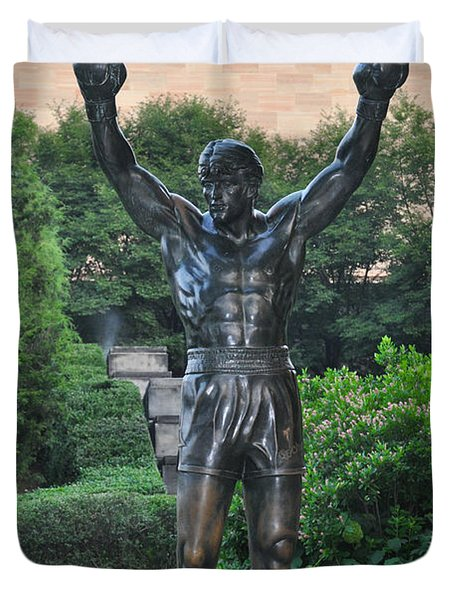 Rocky Statue - Philadelphia Duvet Cover by Bill Cannon