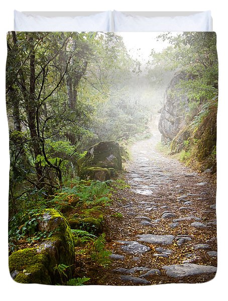 Rocky Trail In The Foggy Forest Duvet Cover