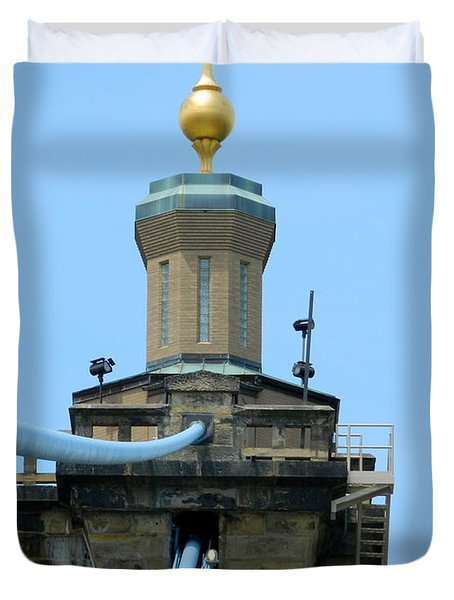 Duvet Cover featuring the photograph Roebling Bridge From Kentucky by Kathy Barney