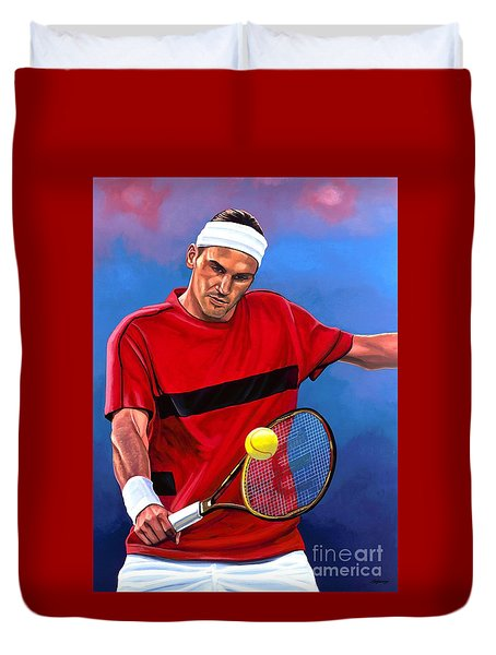 Roger Federer The Swiss Maestro Duvet Cover by Paul Meijering