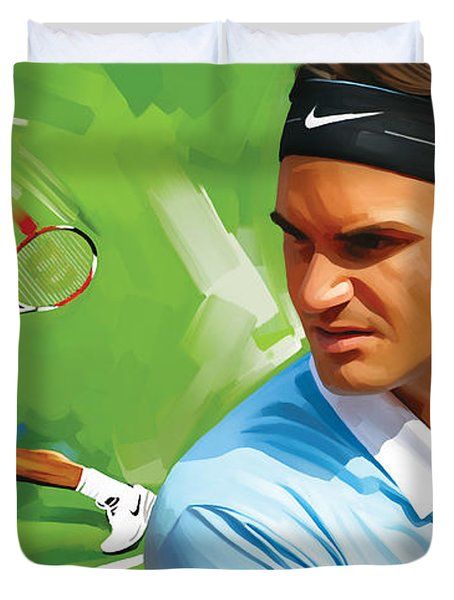 Roger Federer Artwork Duvet Cover by Sheraz A