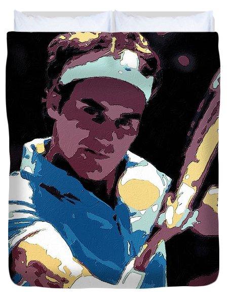 Roger Federer Portrait Art Duvet Cover by Florian Rodarte